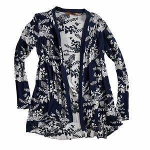 Belldini Floral Print Long Sleeve Sweater Cardigan
